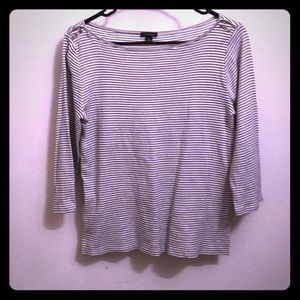 ANN TAYLOR 100% Cotton Blue White Striped 3/4 Tee